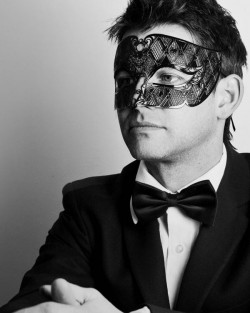 Men's Smoking Black Metal Filigree Laser Cut Venetian Masquerade Mask, Model Shot