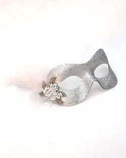 Petite Silver Sparkly Metal Flower Masquerade Mask