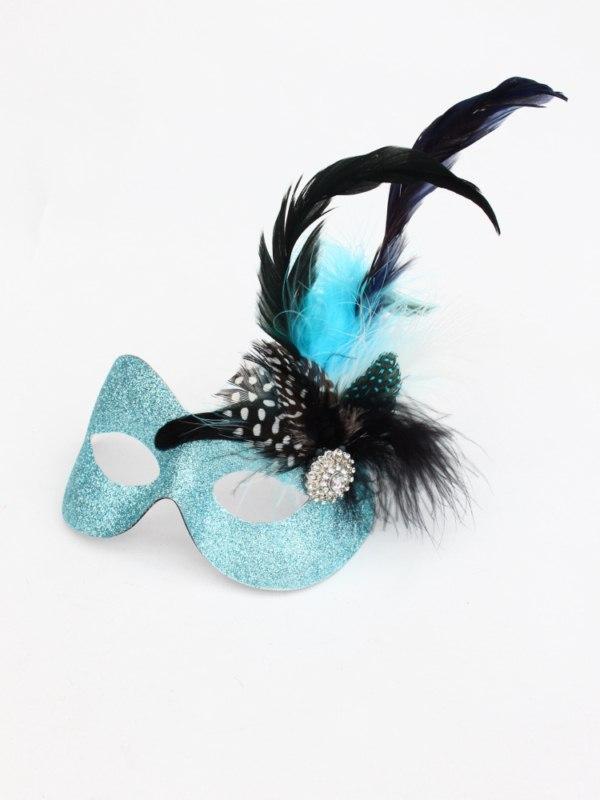Stacy Ice Blue & Black Feather Masquerade Eye Mask