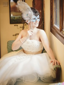 14. Teal & Silver Lace Bridal Mask