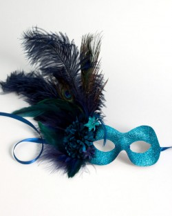 exotic peacock blue masquerade eye mask
