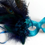 exotic peacock blue masquerade mask