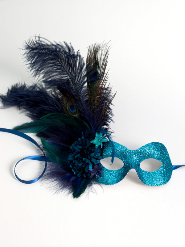 Women S Exotic Peacock Navy Amp Teal Feather Ball Mask