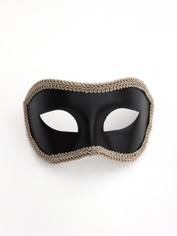 Men's Black & Beige Trim Venetian Mask