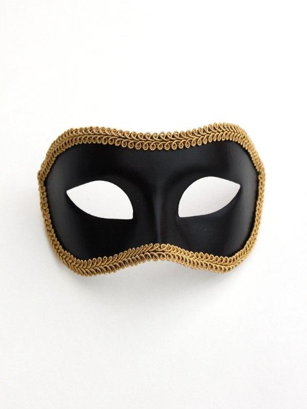 Men's Black & Gold Trim Venetian Eye Mask