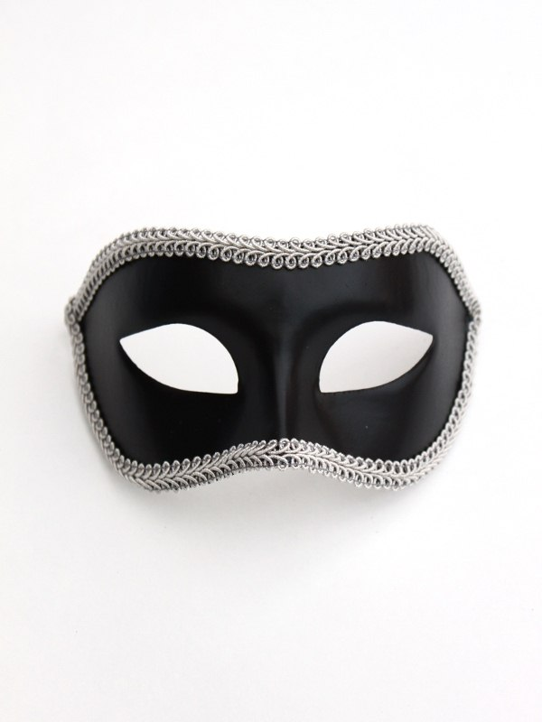 Men's Black & Silver Trim Venetian Eye Mask