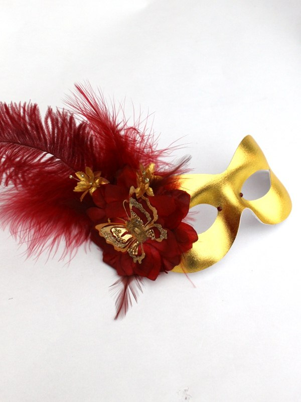 Burgundy & Gold Butterfly Feather Masquerade Mask