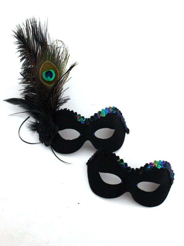 Couple's Black Peacock Feather Masquerade Masks