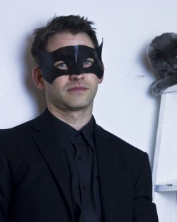 mens black leather bat man masquerade mask