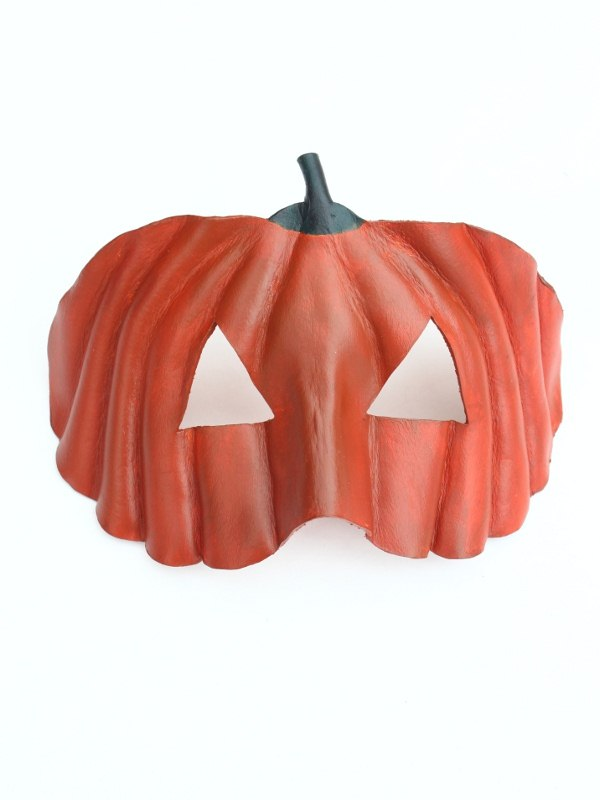 Leather Pumpkin Eye Mask for Halloween or Thanksgiving