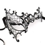 Luxury Black Crystal Phantom Metal Filigree Mask