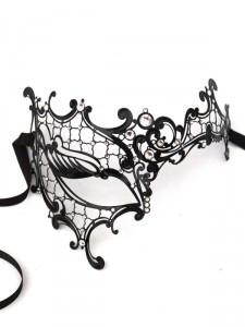 Luxury Black Crystal Phantom Metal Filigree Mask