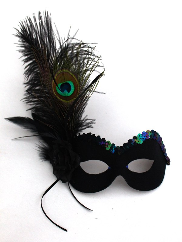 Peacock Feather Black Eye Mask