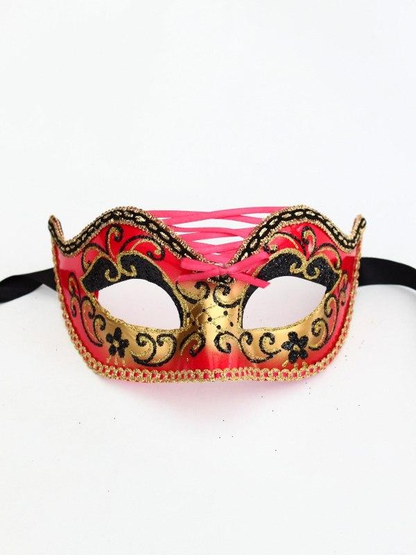 Red Burlesque Venetian Eye Mask