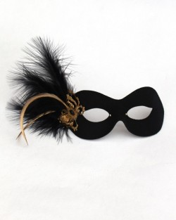 Black & Gold Filigree Butterfly Eye Mask