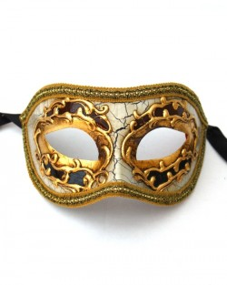 mens black gold venetian half masquerade mask
