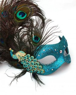 Luxury Monsoon Peacock Jewelled Venetian Mask