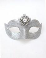 Silver Sparkle Crystal Venetian Mask