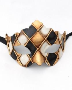 Black & Gold Shaped Checkers Venetian Paper mache mask