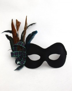 Tartan Blue & Black Masquerade Mask