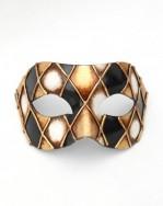 Black & Gold Checkers Venetian Half Masquerade Mask
