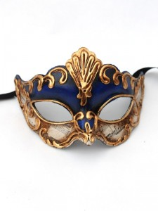 Navy & Gold Antonio Venetian Paper Mache Mask