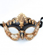 Antonio Black & Gold Venetian Half Mask