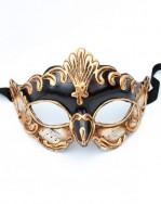 Antonio Black & Gold Venetian Half Mask