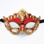 Antonio Red & Gold Venetian Paper mache Half Mask