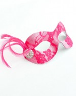 Cerise Petite Lace Masquerade Mask