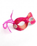 Cerise on Gold Petite Lace Masquerade Mask b