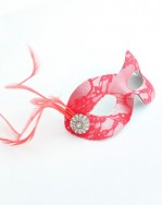 Coral Petite Lace Masquerade Mask