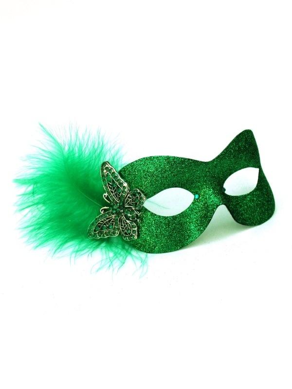 foto de Green Sparkle Butterfly Masquerade Mask Masque Boutique