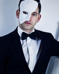 Men's White Leather Phantom of the Opera Masquerade Mask, Model Shot