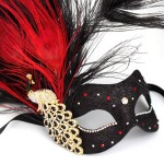 swarovski crystal luxury red and black peacock masquerade mask
