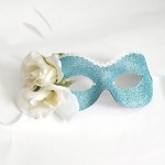 Romantic Ice Blue Rose masquerade eye mask