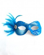 Turquoise Blue Candy Lace & Swarovski Crystal Masquerade Mask