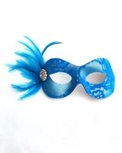 Turquoise Blue Candy Lace & Swarovski Crystal Masquerade Mask