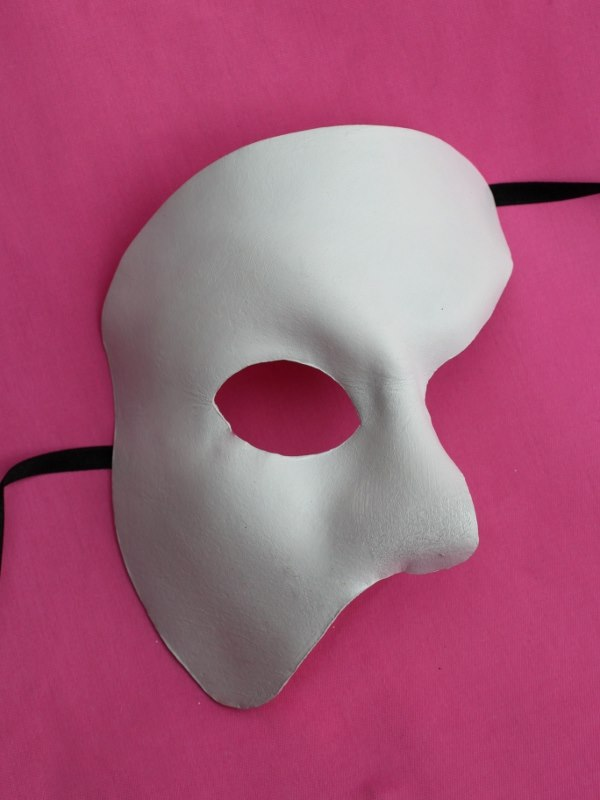 White Leather Phantom of the Opera Masquerade Venetian Mask