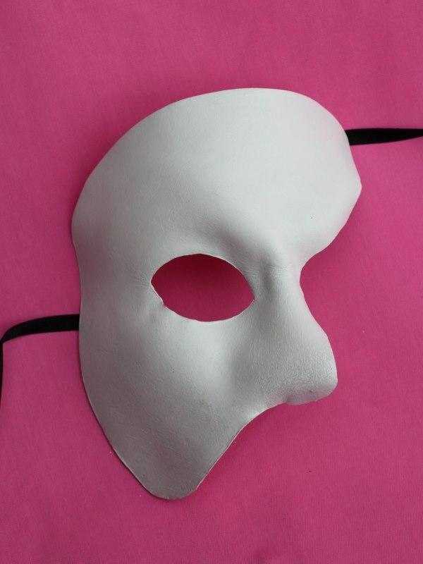 White Leather Phantom of the Opera Masquerade Venetian Mask