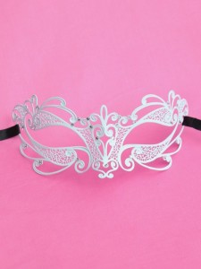 luxury Swarovski white metal filigree laser cut flora metal masquerade prom mask