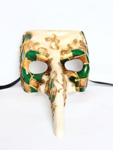 Aldo Green Long Nose Venetian Masquerade Mask