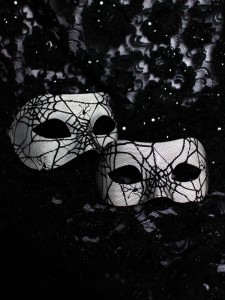 Black & White Spider Web Halloween Venetian Masks for Couples, matching masks