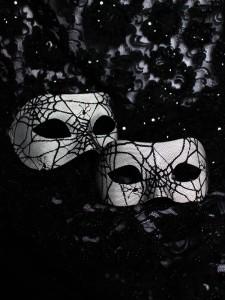 Black & White Spider Web Halloween Venetian Masks for Couples, matching masks