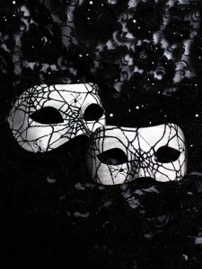 Black & White Spider Web Venetian Masks for Couples