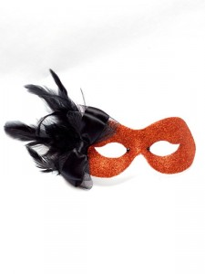 Halloween Pumpkin Orange Bow Masquerade Eye Mask