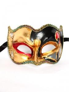 Joker Mozart Black & Red Venetian Mask