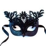 Lucretia black beaded lace luxury venetian mask