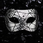 Men's Black & White Spider Web Venetian Mask