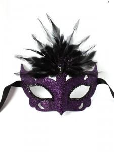 Raven puple & black Gothic Skull Venetian Masquerade Mask f